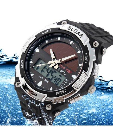 Αθλητικό ρολόι χειρός ηλιακής φόρτισης αδιάβροχο με LED ψηφιακή και αναλογική ώρα SKMEI 1049Silver