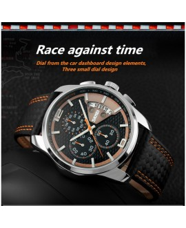 Ανδρικό ρολόι πολυλειτουργικό απο γνήσιο δέρμα - SKMEI 9106 Orange