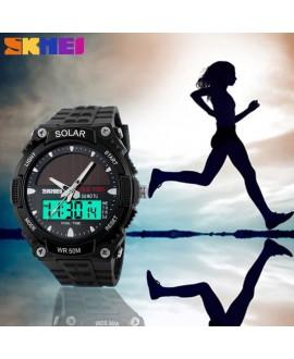 Αθλητικό ρολόι χειρός ηλιακής φόρτισης αδιάβροχο με LED ψηφιακή και αναλογική ώρα SKMEI 1049 BLACK
