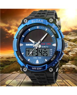Αθλητικό ρολόι χειρός ηλιακής φόρτισης αδιάβροχο με LED ψηφιακή και αναλογική ώρα SKMEI 1049 BLUE