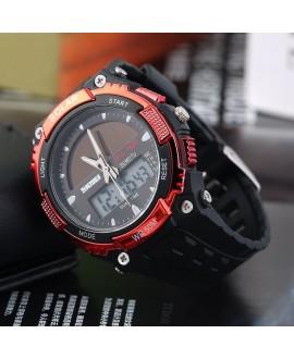 Αθλητικό ρολόι χειρός ηλιακής φόρτισης αδιάβροχο με LED ψηφιακή και αναλογική ώρα SKMEI 1049 RED