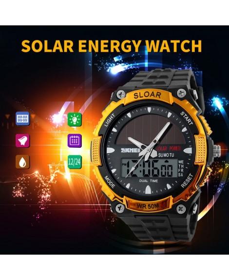 Αθλητικό ρολόι χειρός ηλιακής φόρτισης αδιάβροχο με LED ψηφιακή και αναλογική ώρα SKMEI 1049 GOLD