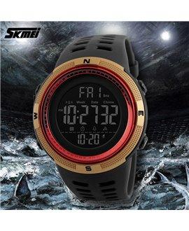 Ρολόι με βηματομετρητή χειρός ανδρικό SKMEI 1250 GOLD WITH RED