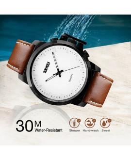 Ρολόι χειρός ανδρικό SKMEI 1208 BROWN WITH WHITE LEATHER