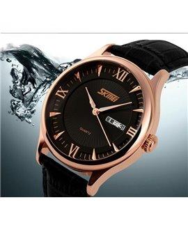 Ρολόι χειρός ανδρικό SKMEI 9091 BLACK LEATHER