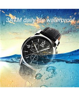 Ρολόι χειρός ανδρικό SKMEI 9070 BLACK LEATHER