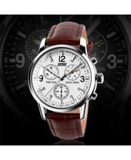 Ρολόι χειρός ανδρικό SKMEI 9070 WHITE LEATHER
