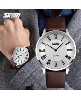 Ρολόι χειρός ανδρικό SKMEI 9092 WHITE/BROWN